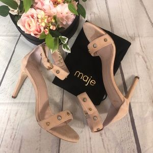 Maje 40 8.5 Nude Suede Heels Shoe Stud Ankle Strap